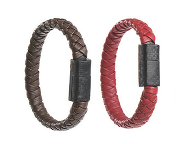 Leather Bracelet USB Cell Phone Cable 2.1A