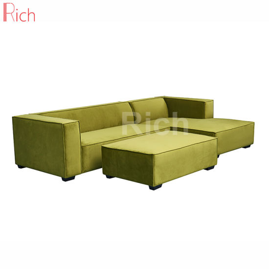 Right Chaise Lounge Green Fabric Velvet Sectional Sofa With