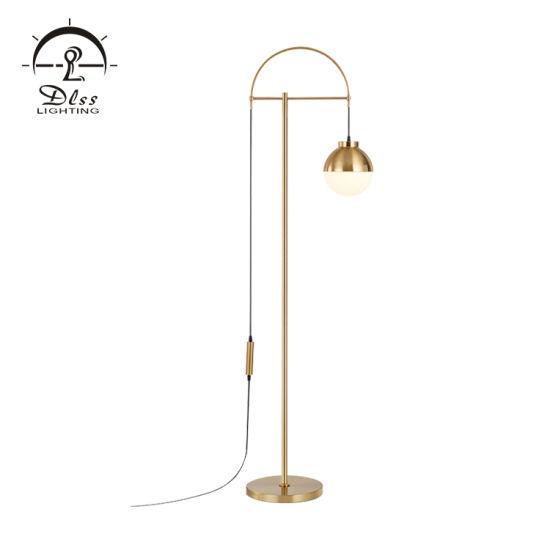 China 1 Light Arc Floor Lamp Gold Metal White Glass China Modern Floor Lamp Gold Floor Lamp