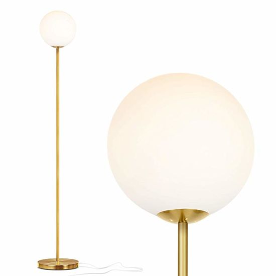 Jll 365 Frosted Glass Globe Led Floor Lamp Mid Century Modern Standing Lamp For Living Rooms Tall Pole Light For Bedroom Office With Led Bulb