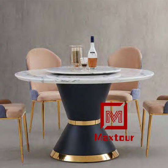 Luxury Marble Top Round Dining Table With Rotating Centre