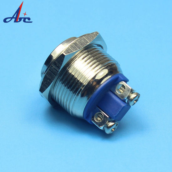 2 Pieces Metal Blue LED Push Button 12V Waterproof Push