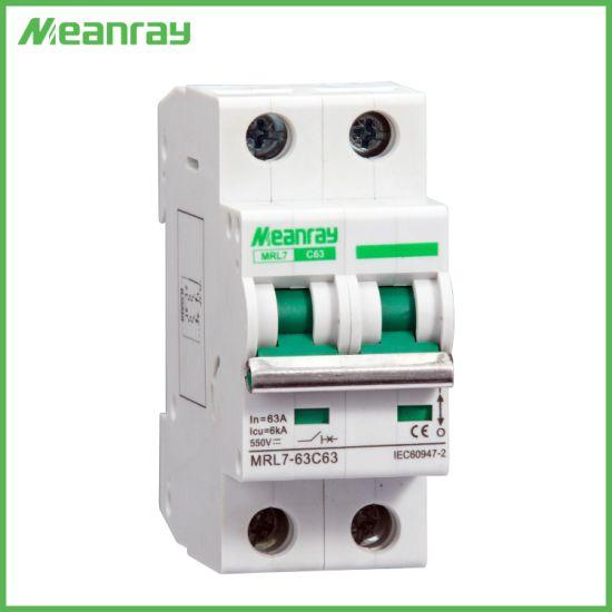 DIN Rail PV System 2p 63A 550V MCB Solar Energy Air Breaker DC Cocurrent Circuit Breaker