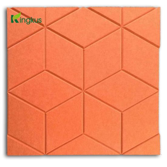 CNC Carved Non-Woven Panel Polyester Fiber Acoustic Wall Board pictures & photos