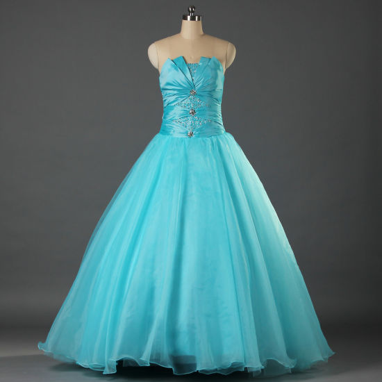 a06b70b05 Ball Gown off The Shouler Organza Taffeta Turquoise Blue Quinceanera Prom  Party Evening Dresses for Women E125