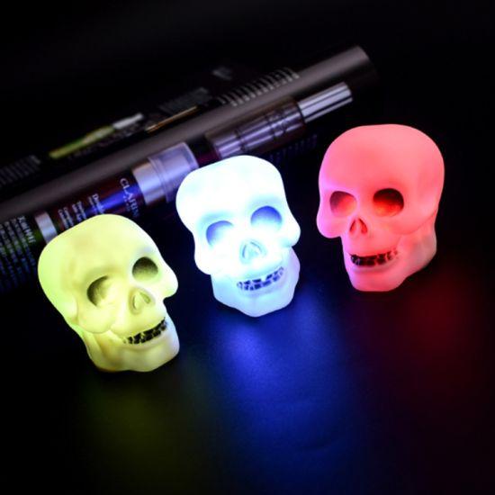 Halloween Light Up Skull LED Glass Skull Lamp Party Decor NEW