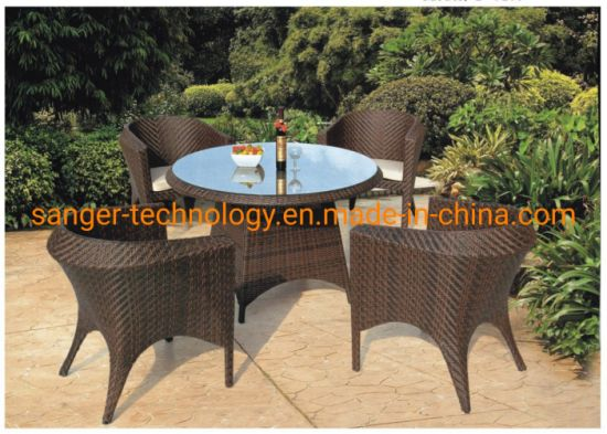 5PCS Wicker Dining Set, UV Resistant Kd Rattan Furniture Sets, Shaped with 4 in 1 Garden Furniture Sets
