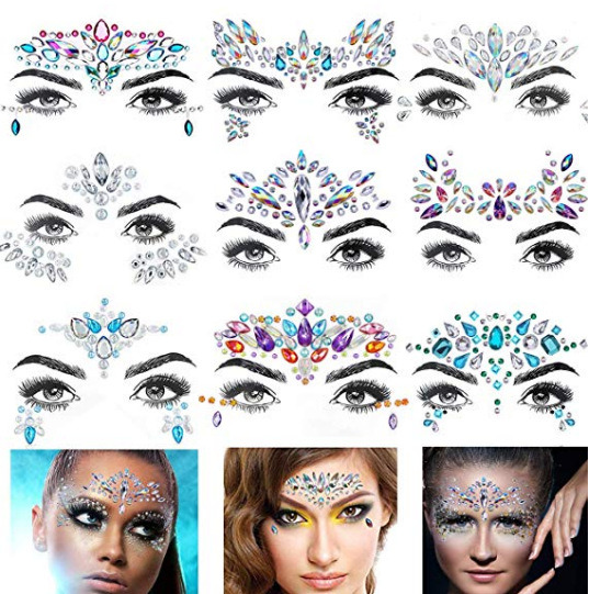 Gift Set Rhinestone Face & Body Jewelry Stick on Gem Liners Body Gems (E18) pictures & photos