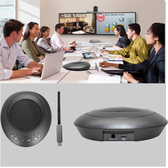 Wireless Conference Microphone Speaker with Dual Chatpod for Conferencing System