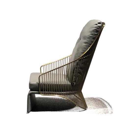 Modern High Back Luxury Leisure Chair Brass Wedding Restaurant Hotel Chair
