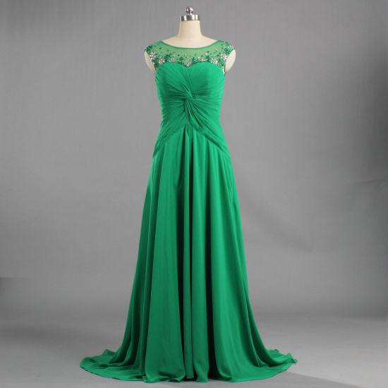 E264 2019 Green Little Train Gown Scoop Neck Long Chiffon Sleeveless Evening Dresses