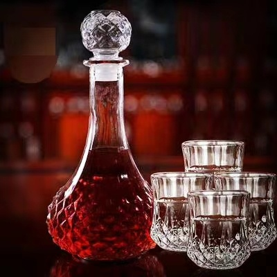 750ml 500ml 375ml 50cl 75cl 1000ml 2L 100ml 200ml 300 Wholesale Empty Crystal Glass Tube Wine Bottle with Caps for Liquor Beverage Vodka Red Wine Whisky Brandy