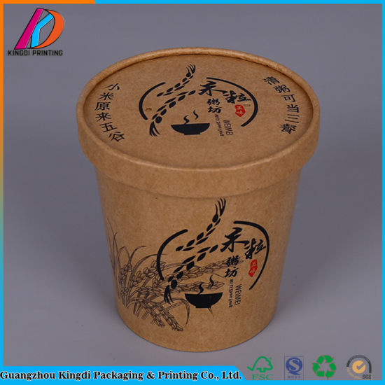 Eco-Friendly Soup Bowl Brown Kraft Paper Cup with Lid pictures & photos