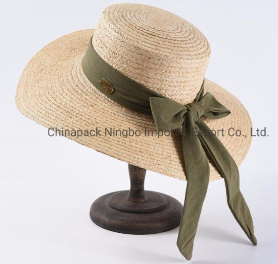 Big Brim Raffia Straw Hat with Big Bowknot (CPHC9003X) pictures & photos