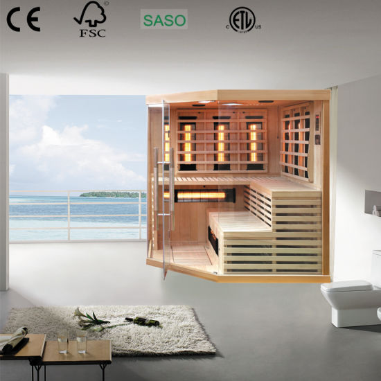 Corner Far Infrared Sauna Room Made of Canada Hemlock with Ce and ETL Certificate Suitable for Family Bathroom Furniture Care for Whole Family Health
