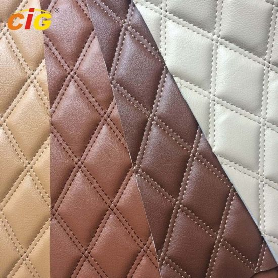 Car Floor Car Seat Embroidery PVC Leather with Foam and Non-Woven Fabric