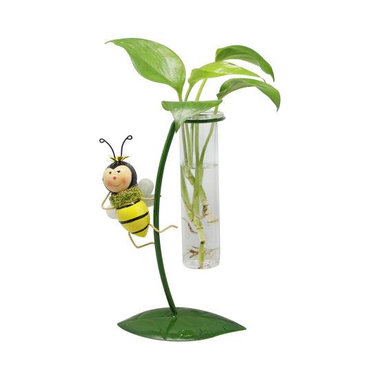 Dance Bee Glass Vase Iron Set Pots, Water Plant, Glass Vase, Home Decor, Office Decor, Planters, Gift Idea, Succulent, Terrariums