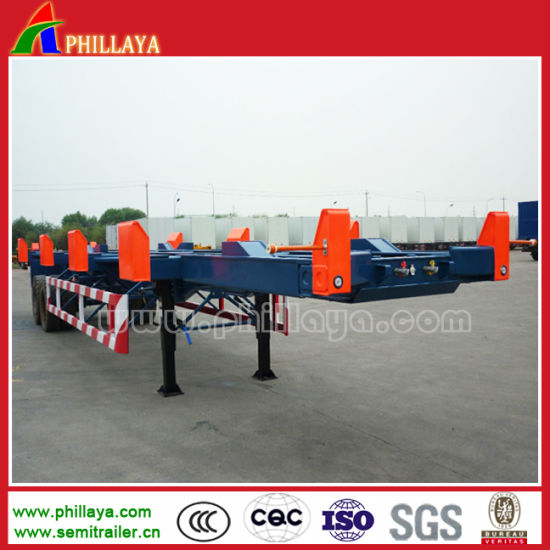 Double Axle Skeletal Container Chassis Port Terminal Trailer pictures & photos