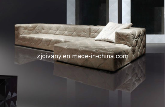 Modern Leather Wood Combination Sofa Fabric Ls 101f