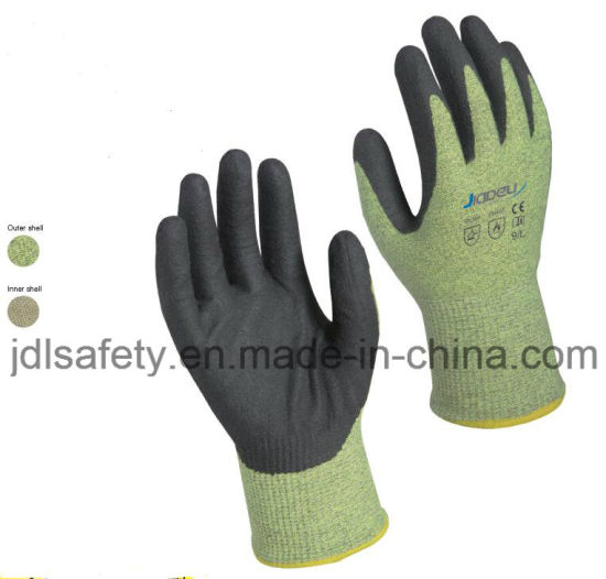 Cut Resistant Safety Working Industrial Arc Flash Protective Work Glove with Foam Nitrile Dipping (D5206)