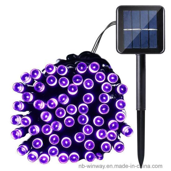 Solar Powered 100 LED Violet Outdoor Christmas String Lights