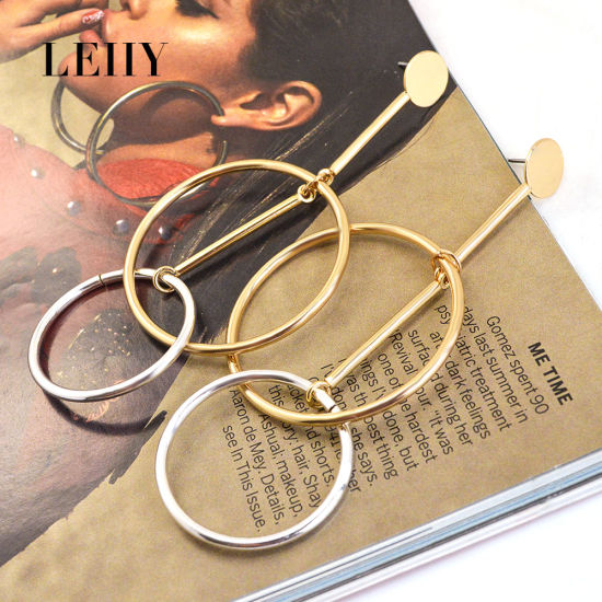 Fashion Gold&Silver-Color Double Hollow Circle Alloy Jewelry Drop Dangle Earrings  pictures & photos