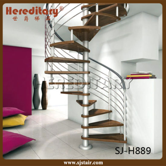 Modern Wood Tread Stainless Steel Cable Railing Spiral Stairs Indoor  (SJ H889)