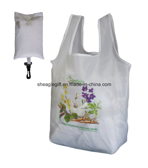 Wholesale Reusable Folding Nylon Tote Bag with Foldable Pouch