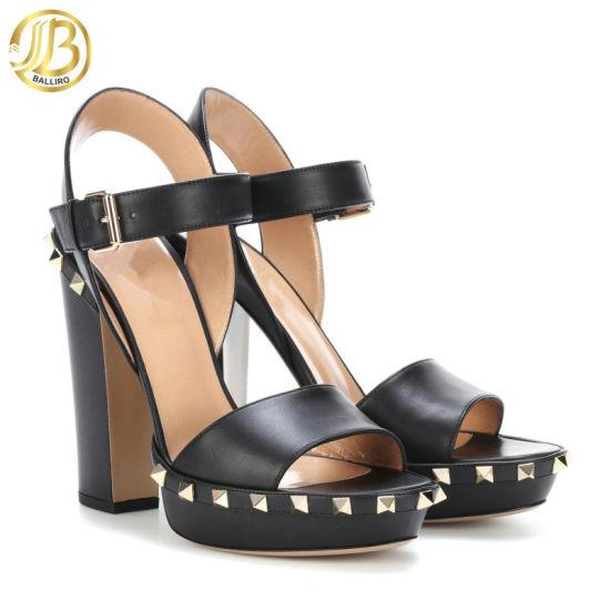 Women Sandals Peep Toe Square Heel Buckle Strap Rivet Fashion Platform Gladiator High Heels