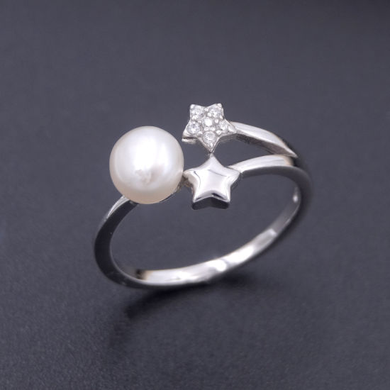 Personalized Silver Ring with Double Zircon Stars Round White Pearl pictures & photos
