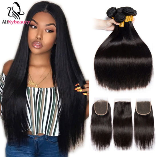 100% Human Hair 3 Bundles with Lace Closure