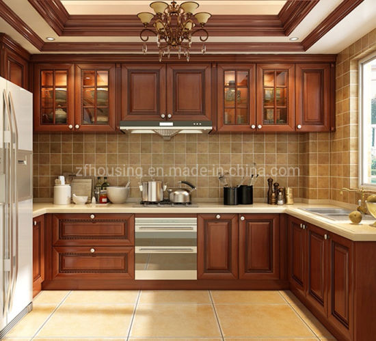 Customized Building Materials Soild Wood Kitchen Cabinets Zf-Kc-018