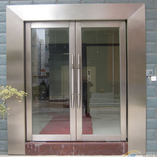 Double Steel French Door/Custom Stainless Steel Tempered Glass Door pictures & photos