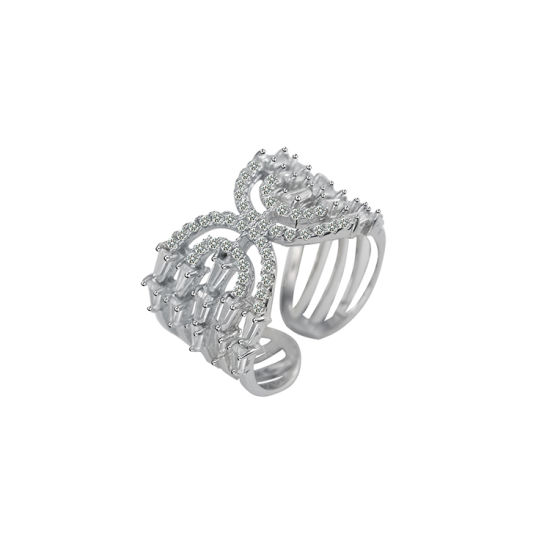 Fashion Hollow Zircon Sterling Silver Rings Wholesale