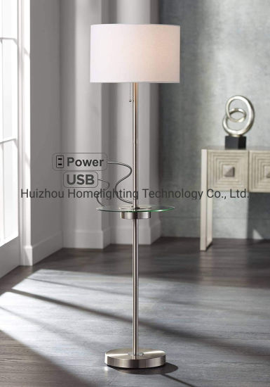 China Jlf 23212 Modern Floor Lamp With Glass End Table With Usb And Ac Power Outlet China Floor Lamps Floor Standing Lamp