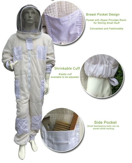Bee Keeping Clothing 3 Layer Air Through Vented Mesh Beekeeping Bee Suit with Hooded Veil Upgraded Type Beekeeper Suit pictures & photos