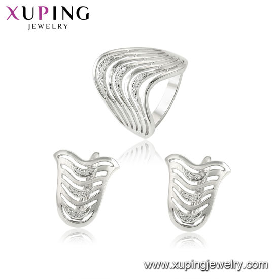 Fashion Unique Design Ring, Necklace, Earring Plated Jewelry Sets