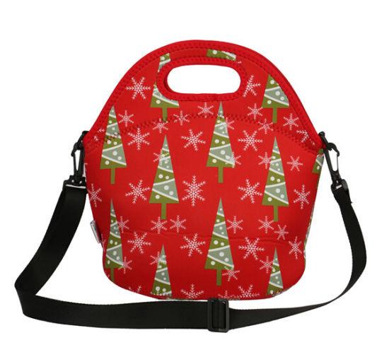 Christmas Lovable Kids Neoprene Lunch Bag for Outdoor Entertainment with Adjustable Webbing Shoulder