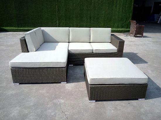 Foshan Aluminum Outdoor L Shaped Corner Rattan Garden Sofa