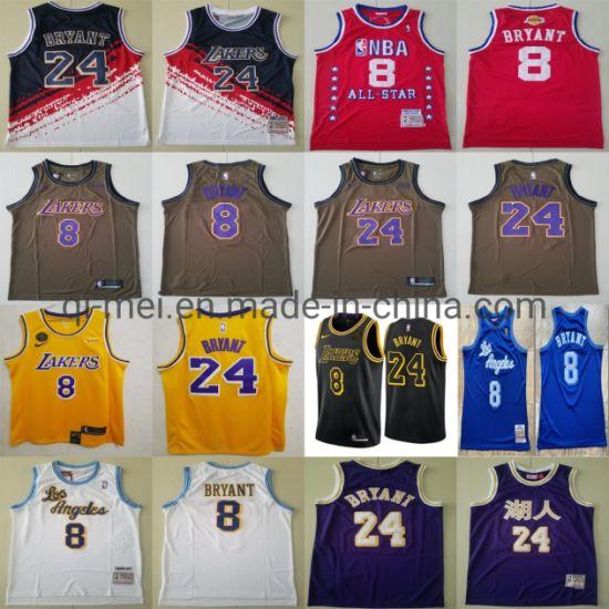 Los Angeles Lakers K-Obe Bryant 24 8 Commemorative Retirement Basketball Jerseys