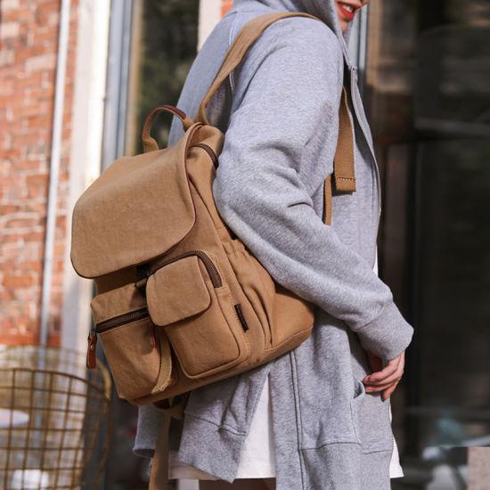 Vintage Canvas Leather Backpack Hiking Daypacks Backpacks Casual Rucksack Satchel Bookbag Mountaineering Bag for Women
