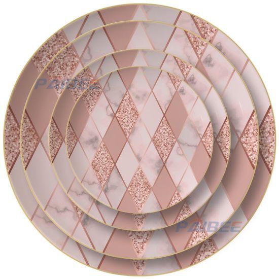 Concrete Design Ceramic Bone China Gold Rimmed Dinner Plates for Weddings