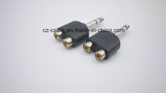 6.35mm Mono/Stereo Plug to 2RCA Female Plugs pictures & photos