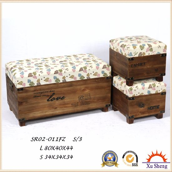 Antique Furniture Wooden Foot Stool Storage Ottoman Chest Trunk Gift Box pictures & photos
