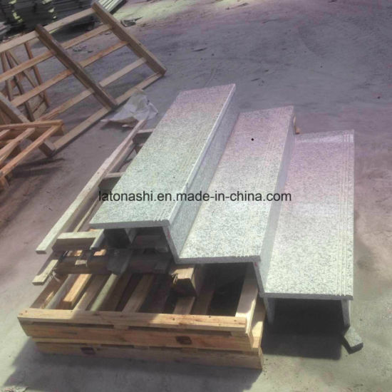 China Light Grey Granite Full Bullnose Outdoor Stair Steps Tread - Bullnose stair step tile