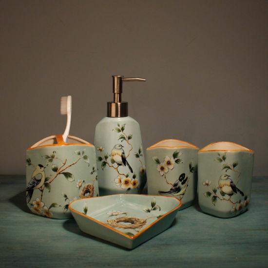 China Cheap Price 5PCS Simple Ceramic Bathroom Accessories