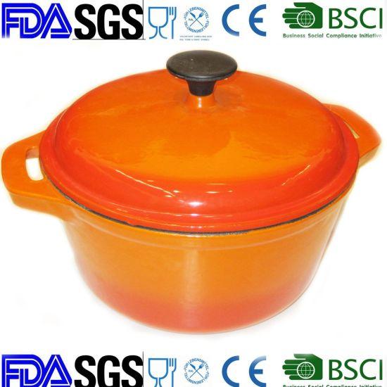 Yellow Round Enamel Cast Iron Cooker China Supplier Dia 26cm
