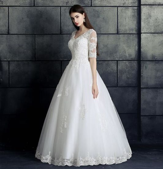 Sequins Half Sleeves Ball Gown Wedding Bridal Dress with Jacket pictures & photos