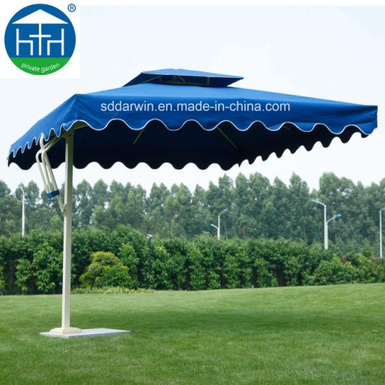 Outdoor Garden Aluminum Umbrella Side Post Parasol with Marble Base
