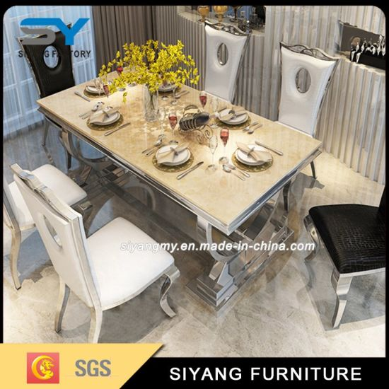 Home Furniture Marble Top Square Dining Table